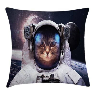 Space Cat Cosmos Cluster Zodiac Square Pillow Cover Size: 24 x 24