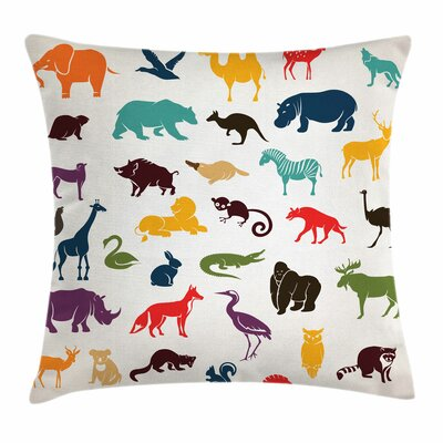 Zoo African Silhouettes Safari Square Pillow Cover Size: 18 x 18
