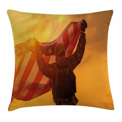United States Soldier with Flag Square Pillow Cover Size: 16 x 16