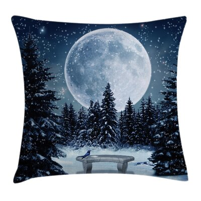 Moonlight Forest Bird Square Pillow Cover Size: 24 x 24