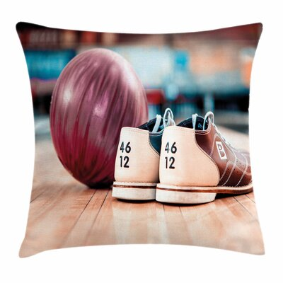 Bowling Party Shoes Ball Square Pillow Cover Size: 18 x 18