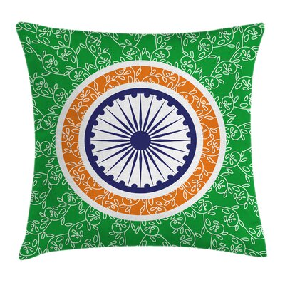 Indian Chakra Floral Square Pillow Cover Size: 16 x 16