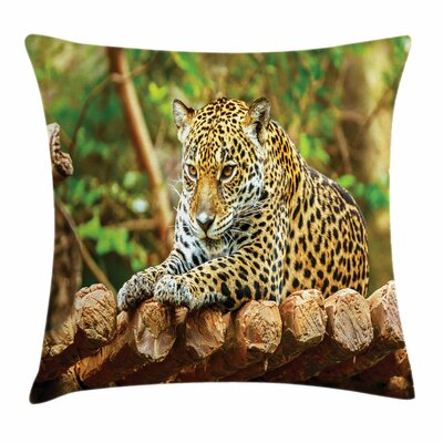Zoo Jaguar on Wood Wild Feline Square Pillow Cover Size: 18 x 18