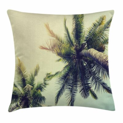 Palm Tree Tropical Summer Beach Square Pillow Cover Size: 18 x 18