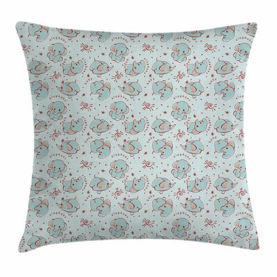Elephant Wild Calves Square Pillow Cover Size: 24 x 24
