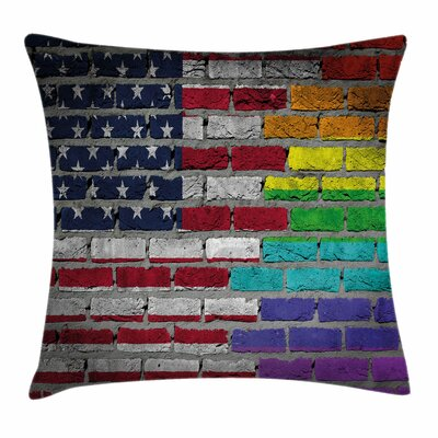 American Flag Brick Wall Pride Square Pillow Cover Size: 24 x 24