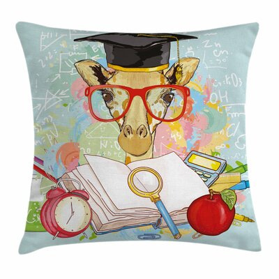 Graduation Decor Geek Giraffe Square Pillow Cover Size: 24 x 24