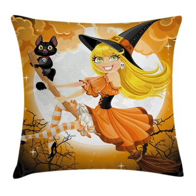 Halloween Decor Cute Witch Square Pillow Cover Size: 16