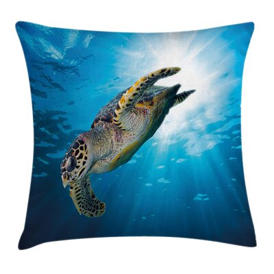 Sea Turtle Diving Square Pillow Cover Size: 24 x 24