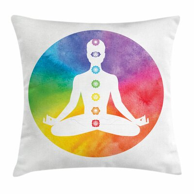 Yoga Symbols of Chakra Lotus Square Pillow Cover Size: 18 x 18
