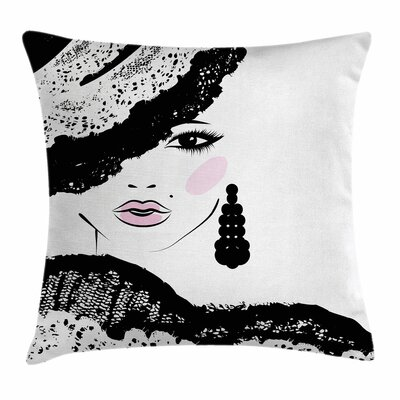 Teen Room Decor Baroque Woman Square Pillow Cover Size: 18 x 18
