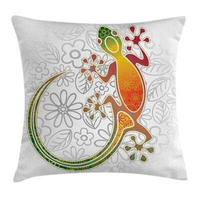 Fabric Tribal Art Frog Flowers Square Pillow Cover Size: 16 x 16