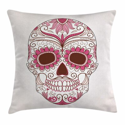 Sugar Skull Mexican Ornaments Square Pillow Cover Size: 18 x 18, Color: Pink