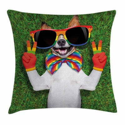 Dog Gay Dog Peace Sign Pride Square Pillow Cover Size: 24 x 24