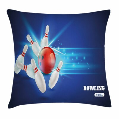 Bowling Strike Ball Pins Square Pillow Cover Size: 18 x 18