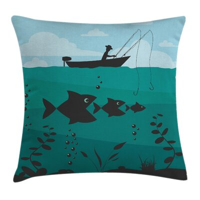 Fishing on Boat Nautical Square Pillow Cover Size: 16 x 16