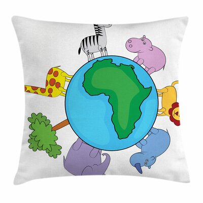 Zoo Africa Continent Cute Fauna Square Pillow Cover Size: 18 x 18