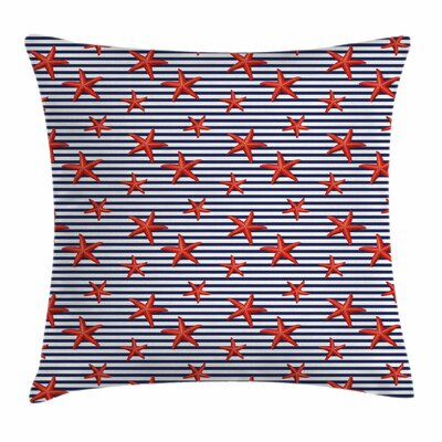 Starfish Decor Classic Stripes Square Pillow Cover Size: 24 x 24