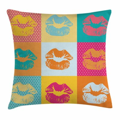 Modern Decor Sexy Woman Lips Square Pillow Cover Size: 16 x 16