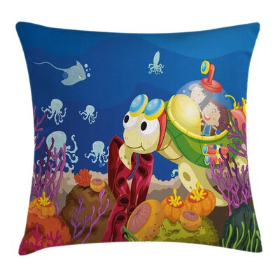 Cartoon Turtle Children Square Pillow Cover Size: 18 x 18