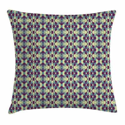 Retro Diamond Shapes Stripes Square Pillow Cover Size: 24 x 24
