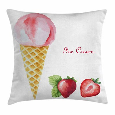 Ice Cream Summer Flavors Square Pillow Cover Size: 18 x 18