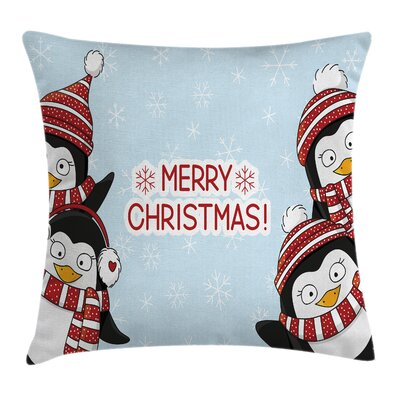 Christmas Cute Penguins Kids Square Pillow Cover Size: 24 x 24