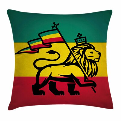 Rasta Judah Lion Rastafari Flag Square Pillow Cover Size: 24 x 24