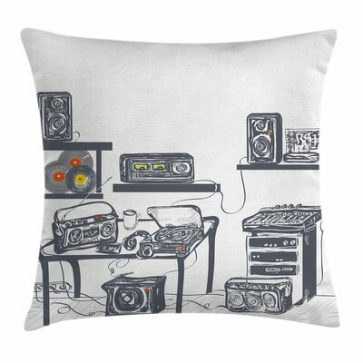 Modern Music Devices Turntable Square Pillow Cover Size: 16 x 16