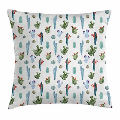 Cactus Botany Watercolors Square Pillow Cover Size: 18
