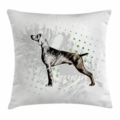 Dog Sketch Art Square Pillow Cover Size: 16 x 16