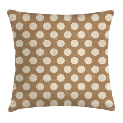 Big Polka Dots Grungy Old Square Pillow Cover Size: 18 x 18