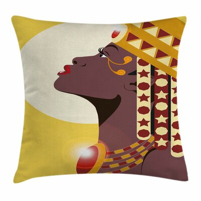 Beautiful African Woman Square Pillow Cover Size: 16 x 16