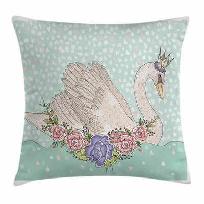Cartoon Swan on Water Square Pillow Cover Size: 18 x 18