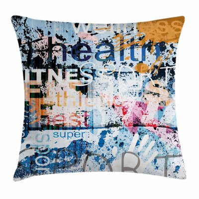 Fitness Health Aerobics Words Square Pillow Cover Size: 16 x 16