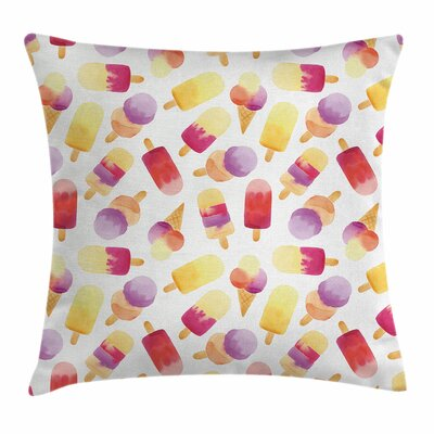 Ice Cream Watercolor Cone Square Pillow Cover Size: 18 x 18