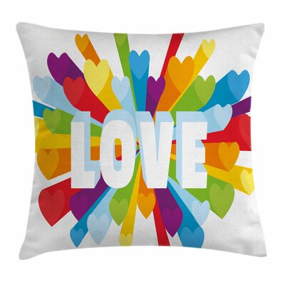 Love Burst Gay LGBT Square Pillow Cover Size: 18 x 18