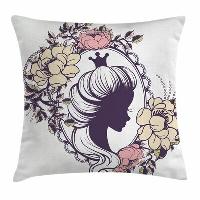 Princess Portrait Frame Square Pillow Cover Size: 18 x 18