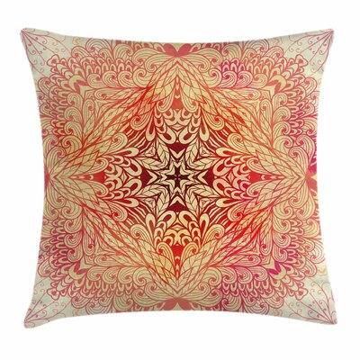 Doodle Flower Swirl Square Pillow Cover Size: 18 x 18