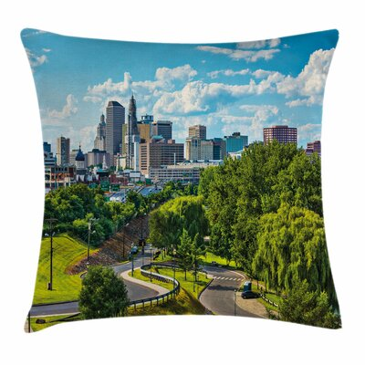 United States Hartford Aerial Square Pillow Cover Size: 16 x 16