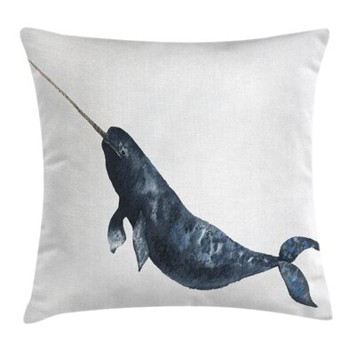Narwhal Swimming Square Pillow Cover Size: 16 x 16