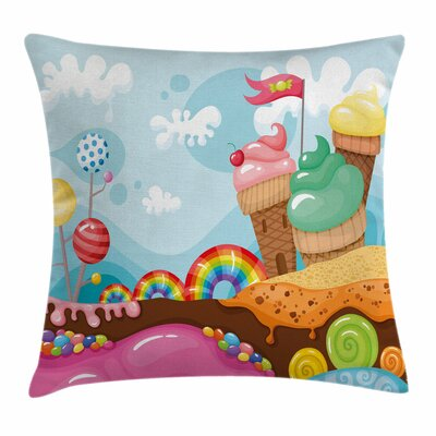 Ice Cream Dessert Land Square Pillow Cover Size: 18 x 18