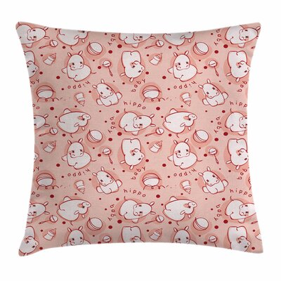 Kids Decor Cute Hippo Pattern Square Pillow Cover Size: 18 x 18