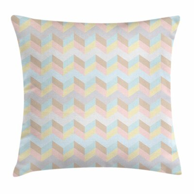 Pastel Zigzag Lines Geometric Square Pillow Cover Size: 24 x 24