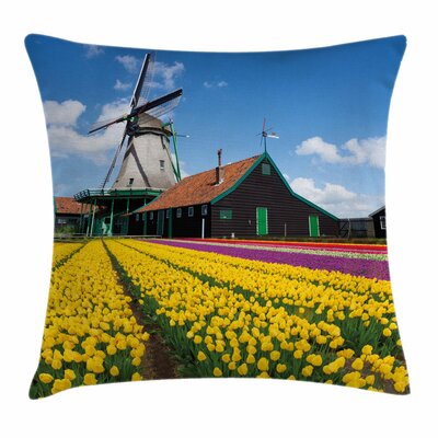 Windmill Decor Dutch Tulips Square Pillow Cover Size: 16 x 16