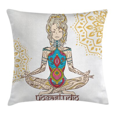 Zen Meditating Girl Mandala Square Pillow Cover Size: 18 x 18