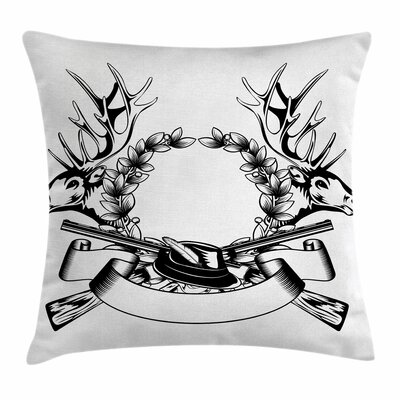 Elk Heads Wrath Square Pillow Cover Size: 16 x 16