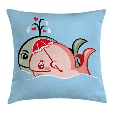 Cute Whale Couple Square Pillow Cover Size: 24 x 24