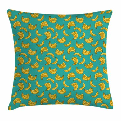 Banana Tropical Fruit Vivid Square Pillow Cover Size: 18 x 18