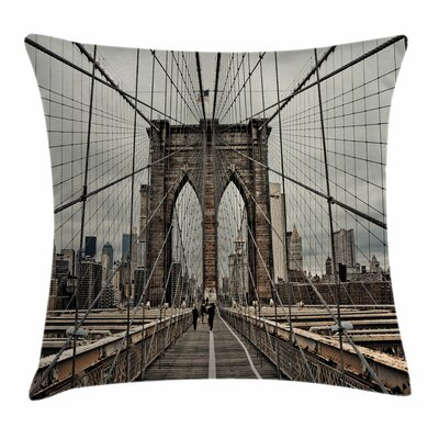 Brooklyn Bridge Square Pillow Cover Size: 18 x 18